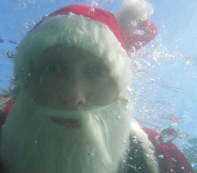 Father Christmas Kayaking in Pembrokeshire.