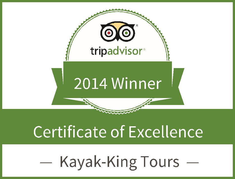 KAYAK-KING AWARDED 2014 TRIPADVISOR CERTIFICATE OF EXCELLENCE